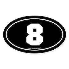 #8 Euro Bumper Oval Sticker -Black