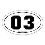 #03 Euro Bumper Oval Sticker -White