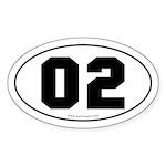 #02 Euro Bumper Oval Sticker -White