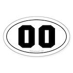 #00 Euro Bumper Oval Sticker -White