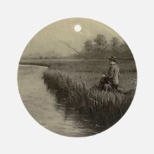 Fly Fishing Art Ornament (Round)