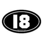 #18 Euro Bumper Oval Sticker -Black