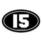 #15 Euro Bumper Oval Sticker -Black