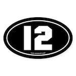 #12 Euro Bumper Oval Sticker -Black