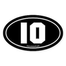 #10 Euro Bumper Oval Sticker -Black
