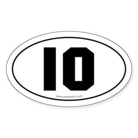 #10 Euro Bumper Oval Sticker -White