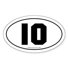 #10 Euro Bumper Oval Sticker -White