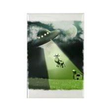Comical Cow Abduction Rectangle Magnet