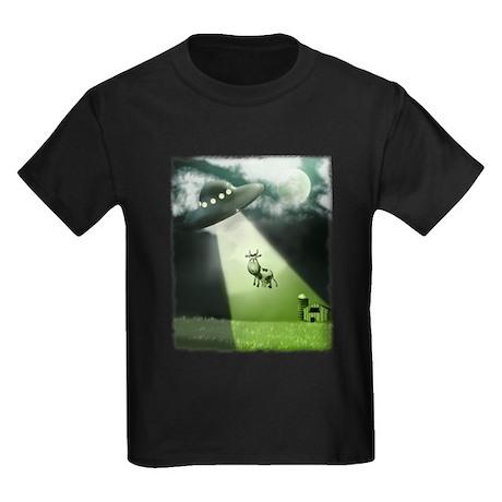 Comical Cow Abduction Kids Dark T-Shirt