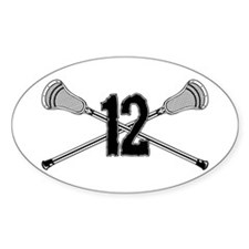 Lacrosse Number 12 Oval Decal