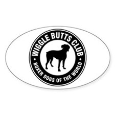 Wiggle Butts Club Oval Bumper Stickers