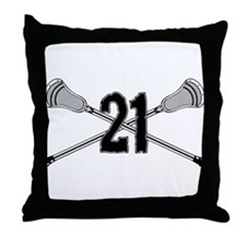 Lacrosse Number 21 Throw Pillow