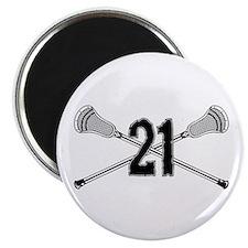Lacrosse Number 21 Magnet