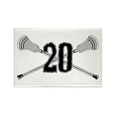 Lacrosse Number 20 Rectangle Magnet