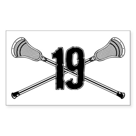 Lacrosse Number 19 Rectangle Sticker