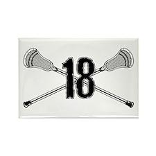 Lacrosse Number 18 Rectangle Magnet