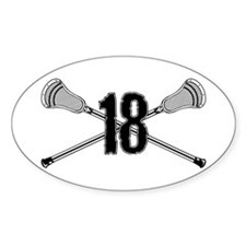 Lacrosse Number 18 Oval Decal