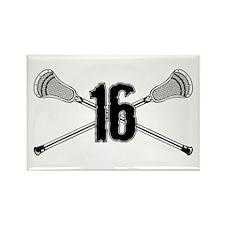 Lacrosse Number 16 Rectangle Magnet