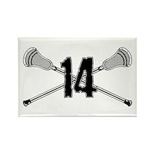 Lacrosse Number 14 Rectangle Magnet
