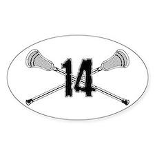 Lacrosse Number 14 Oval Sticker