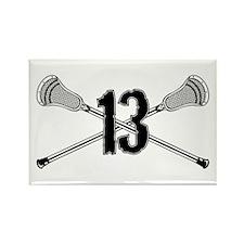 Lacrosse Number 13 Rectangle Magnet