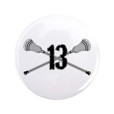 "Lacrosse Number 13 3.5"" Button"