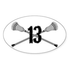 Lacrosse Number 13 Oval Decal