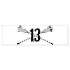 Lacrosse Number 13 Bumper Bumper Sticker