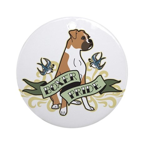 Boxer Tattoo Ornament (Round)