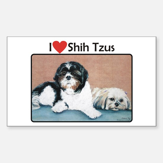 I love Shih Tzus Rectangle Decal