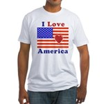 Heart America Flag Fitted T-Shirt