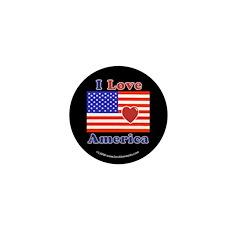 Heart America Flag Mini Button