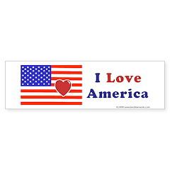 Heart America Flag Bumper Sticker