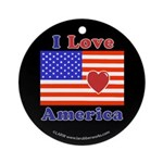 Heart America Flag Ornament (Round)