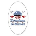 Freedom Is Sweet Americana Oval Sticker (10 pk)