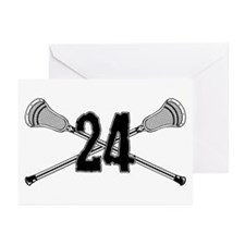 Lacrosse Number 24 Greeting Cards (Pk of 10)