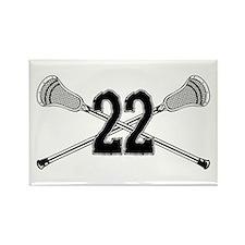 Lacrosse Number 22 Rectangle Magnet