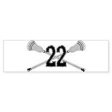 Lacrosse Number 22 Bumper Bumper Sticker