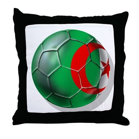 Algerian flag soccer ball Throw Pillow