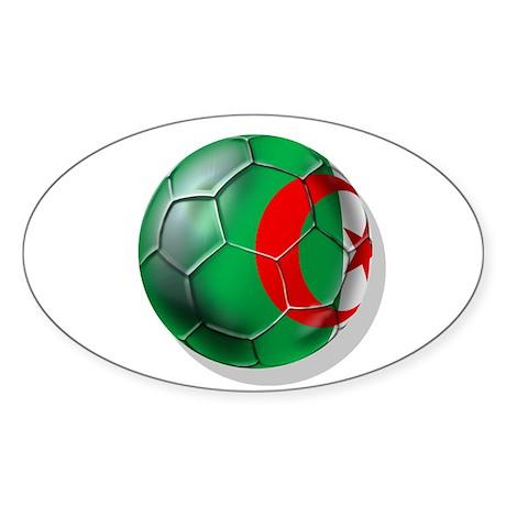 Algerian flag soccer ball Oval Sticker