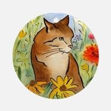 Orange Stripey Tabby Cat Ornament (Round)