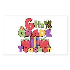 6th Grade Teacher Rectangle Decal