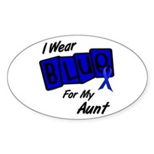I Wear Blue Aunt Colon Cancer Oval Decal