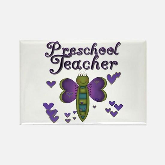 Butterfly Preschool Teacher Rectangle Magnet (100