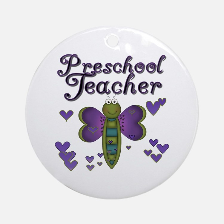 Butterfly Preschool Teacher Ornament (Round)