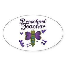 Butterfly Preschool Teacher Oval Decal
