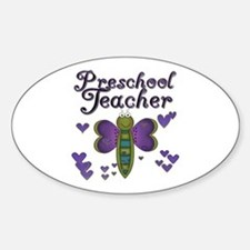 Butterfly Preschool Teacher Oval Decal