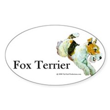 Flying Fox Terrier Oval Decal