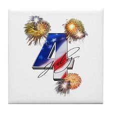4 July fireworks Tile Coaster