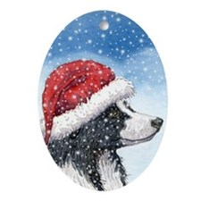 His Holiday Hat in the Snow Oval Ornament